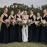 The white of this bride's dress really popped thanks to her bridesmaids in all black.