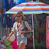 Kate Moss checked out a local market in Spain.