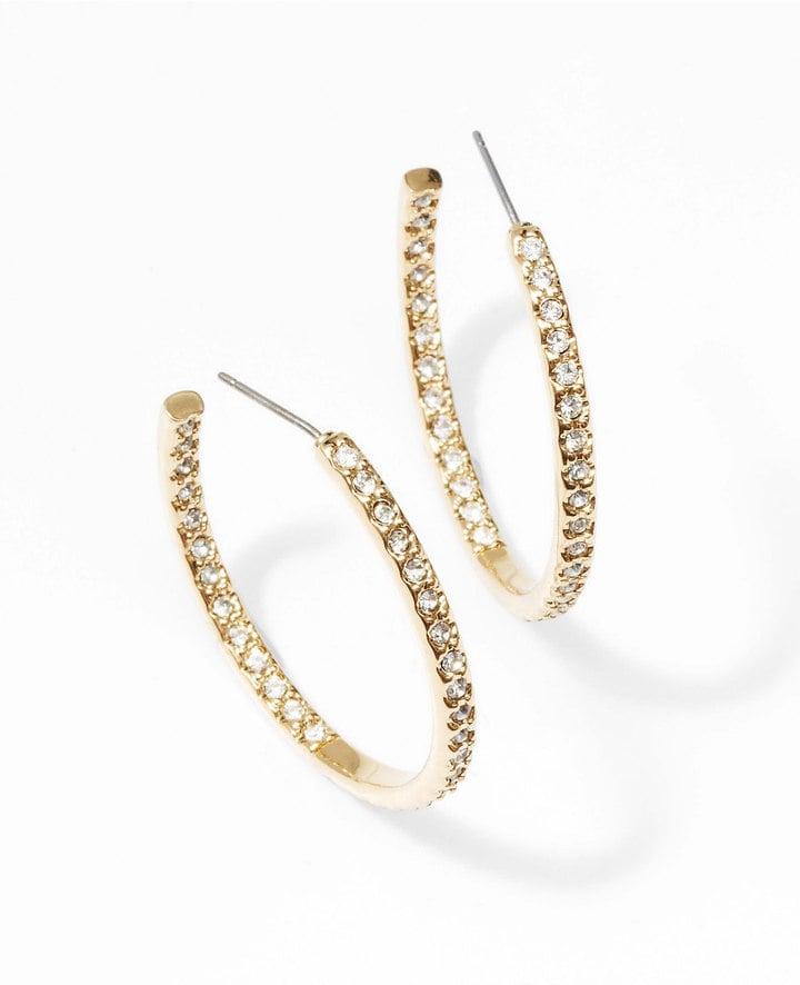 Ann Taylor Modern Classic Sparkle Hoops ($40)