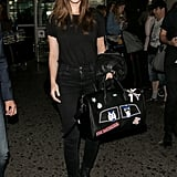 Barbara Palvin Carrying a Karl Lagerfeld Patch Holdall Bag