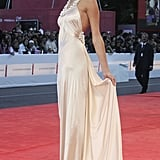 She Wore a Silk Champagne Gown to the Venice Film Festival