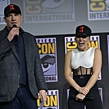 Pictured: Kevin Feige and Scarlett Johansson at San Diego Comic-Con.