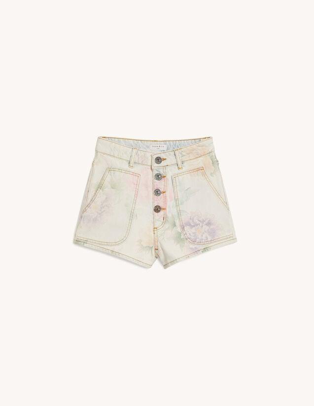 Sandro Paris Printed Denim Shorts