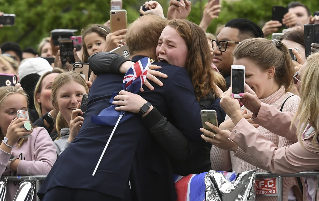 "A hug from Prince Harry? Yeah, we'd sob too. During the famous royal's tour of Australia with wife Meghan Markle, he greeted fans during a walk through the Royal Botanic Gardens of Melbourne, and one young woman in particular had an extraemotional reaction.  It's no secret that Harry's got quite a fan base — from infants to the elderly — out to see him at each of his tour stops. But for 19-year-old India Brown, getting a hug from the prince was the reason for happy tears.  ""Prince Harry just hugged me,"" India told The Herald Sun. ""I didn't expect it to happen because it's actually against protocol. . . . He is someone I've looked up to for many, many, many years. Everything he stands for is amazing. I said, 'I know it's against royal protocol, but can I please have a hug?' He hugged me and I burst into tears. He just said, 'Oh, you're going to get me in trouble.'""  Aw! India is right; usually, hugging royals is against protocol, but Harry's already made a few exceptions to the rules during the tour — sometimes they're meant to be broken, right?      Related:                                                                                                           Now That Meghan and Harry Have Wrapped Up Their Royal Tour, Look Back on All the Best Photos"