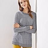 Loft Striped Side Slit Tunic Sweater