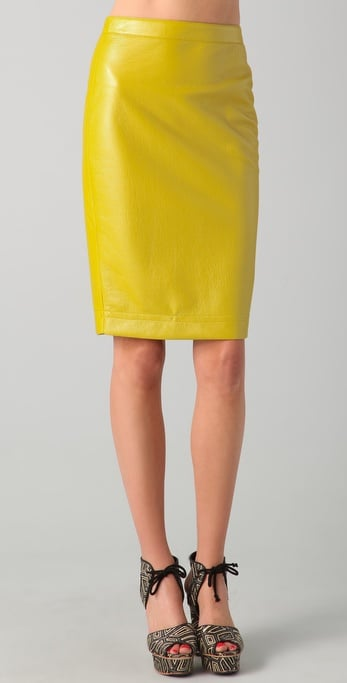 This citron leather pencil skirt would look amazing with a graphic print blouse and woven sandals.  Robert Rodriguez Coated Pencil Skirt ($265)