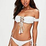 Missguided White Crochet Lace Up Bardot Bikini Set