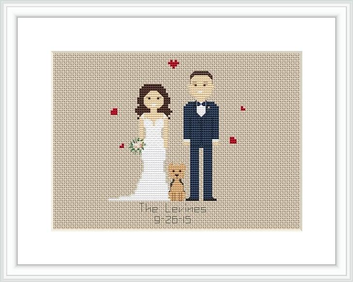 Wedding Gifts Under 20: Custom Wedding Cross Stitch