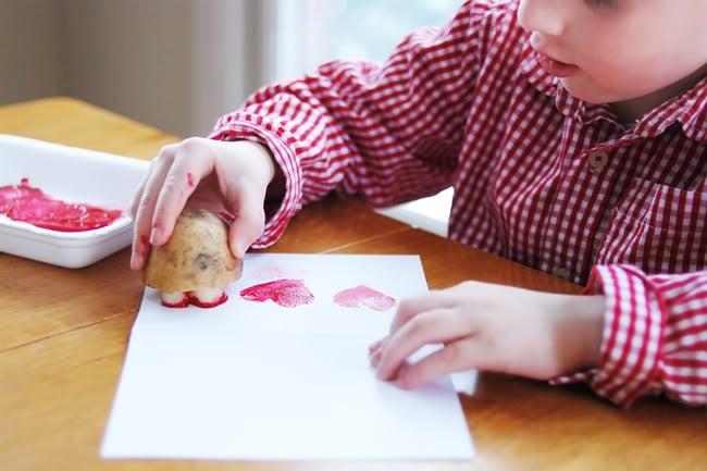 Valentine's Day Potato Heart Stamps