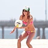 AnnaLynne McCord got low to serve a volleyball in LA.