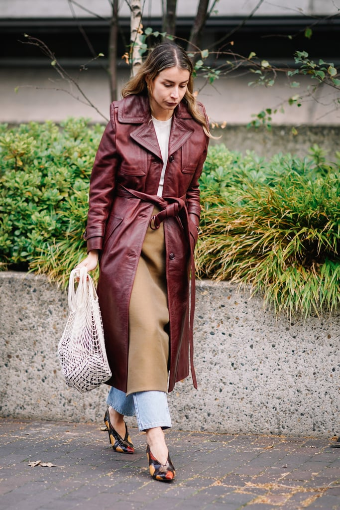 Somehow when paired with a tailored trench coat and heels, the farmer market's tote looks extra stylish. It's proof this bag is a versatile accessory and just as good as any designer piece.