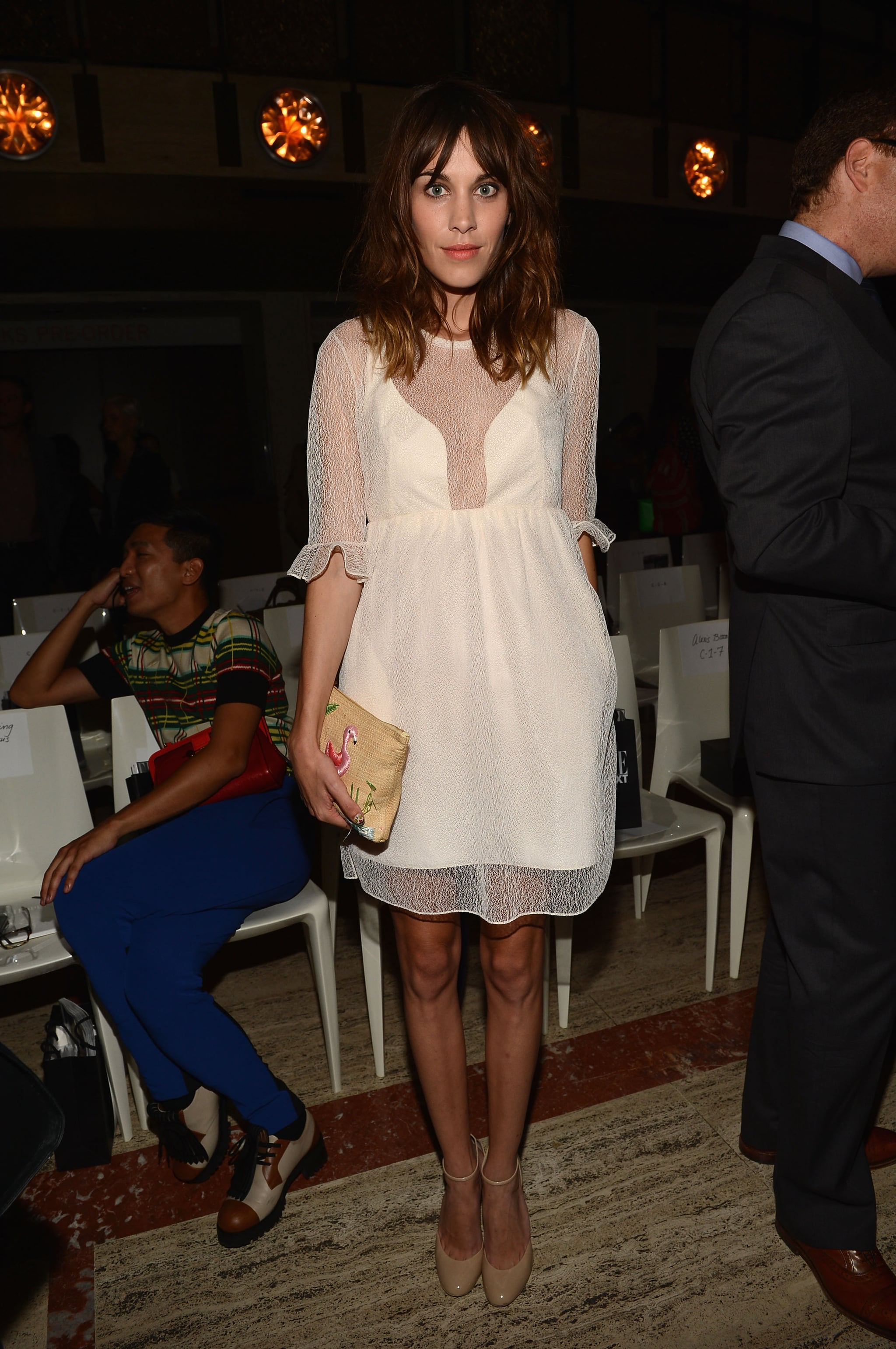 Alexa Chung Looked Sweet In A Sheer Paneled Ivory Shift And Nude A Front Row Look At Nyfw S Celeb Style Set Popsugar Fashion Photo 84