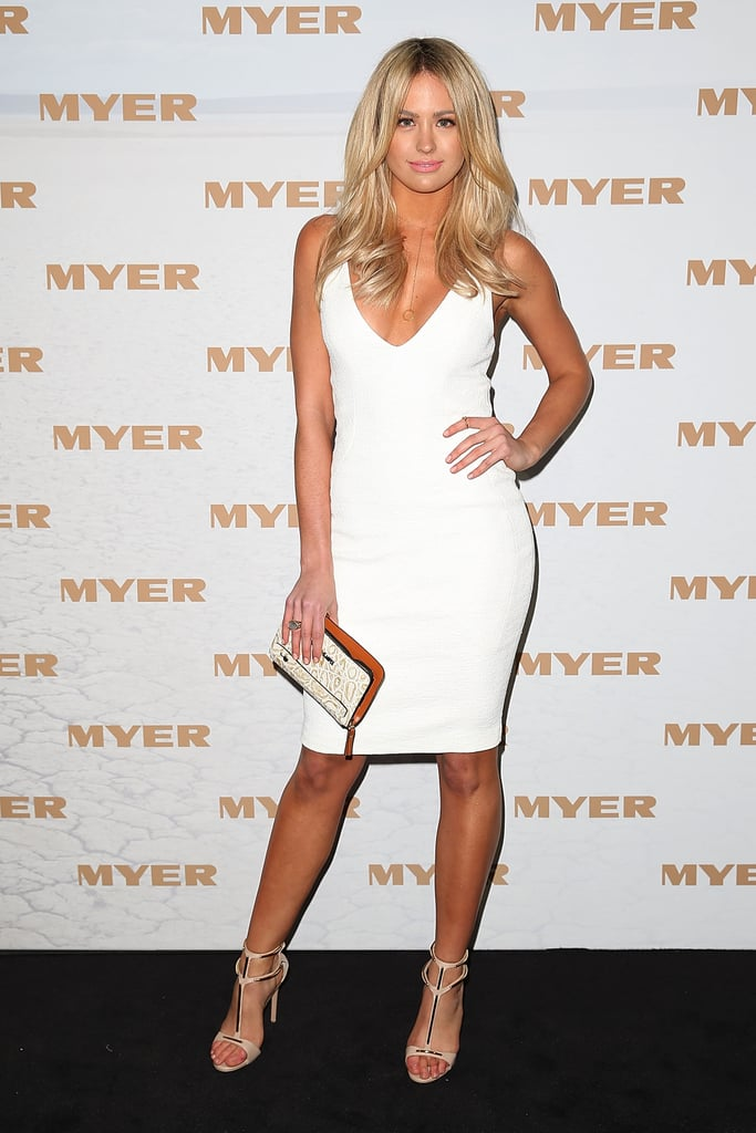 Jesinta Campbell dialled up the glam in a tight white dress and lightened locks at the Myer runway show on August 8.