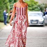 Mix prints with a striped bustier and floral skirt for a patterned look that will have all eyes on you.