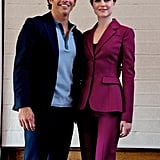 She wore a dark plum-colored suit while promoting her show Westworld in July 2016. This is probably one of our favorite suits Evan's worn yet.