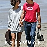Halle Berry and Olivier Martinez held hands during a romantic stroll along Malibu's shore in May.