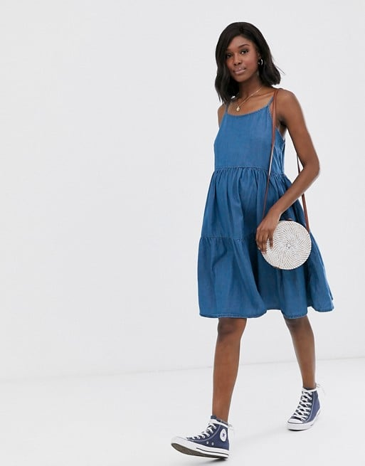 New Look Maternity tiered dress in denim blue | ASOS