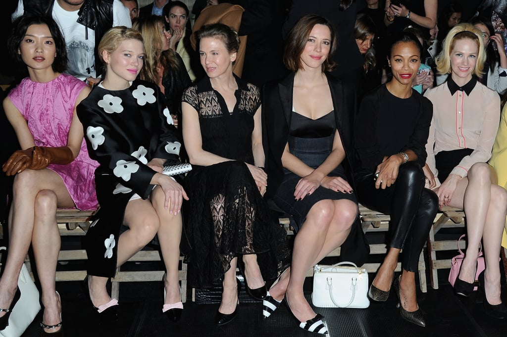Du Juan, Lea Seydoux, Renée Zellweger, Rebecca Hall, Zoe Saldana and January Jones attended the Miu Miu show.