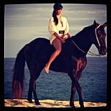 Kim Kardashian rode a horse on the beach. Source: Instagram user kimkardashian