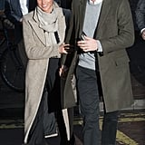 When they visited the Reprezent radio station in London, Harry and Meghan both opted for a very neutral colour palette. Harry wore a khaki coat, while Meghan chose a grey Smythe piece.