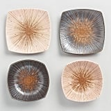Square Metallic Porcelain Plate and Bowl Four Piece Gift Set