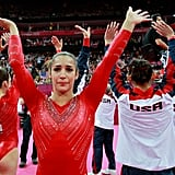 US gymnast Aly Raisman got teary-eyed after her team's big win.