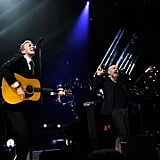 Chris Martin and Michael Stipe were on stage in NYC.