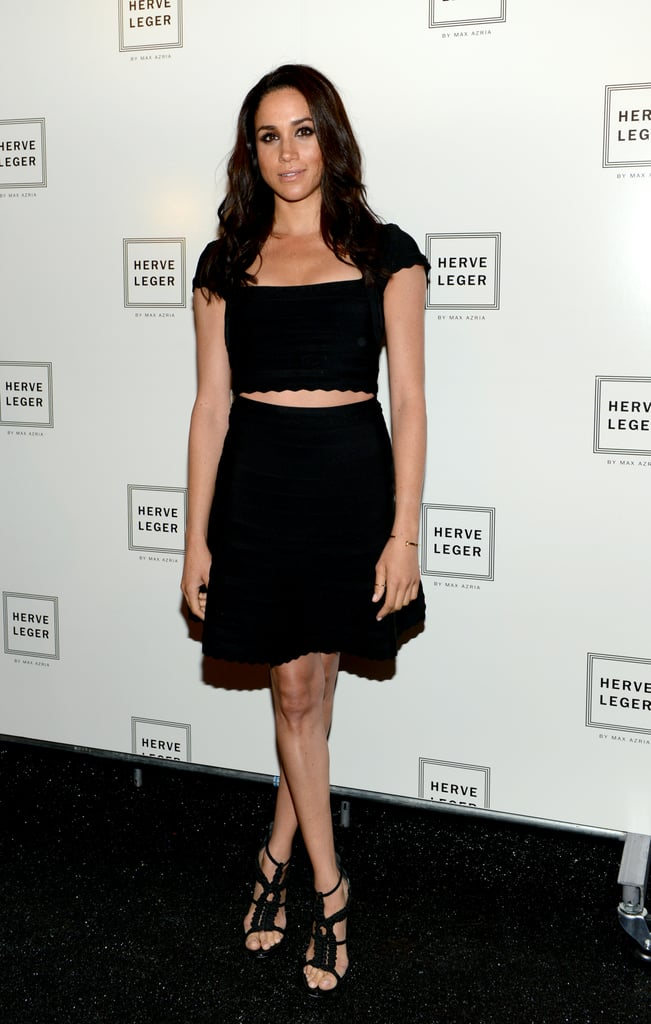 That same day, she changed into a crop top and skirt for the Herve Leger by Max Azria show.