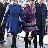 Zara and her new sister-in-law Autumn Phillips are all smiles at the Sandringham Christmas day service in 2009. Check out her fringed heels!