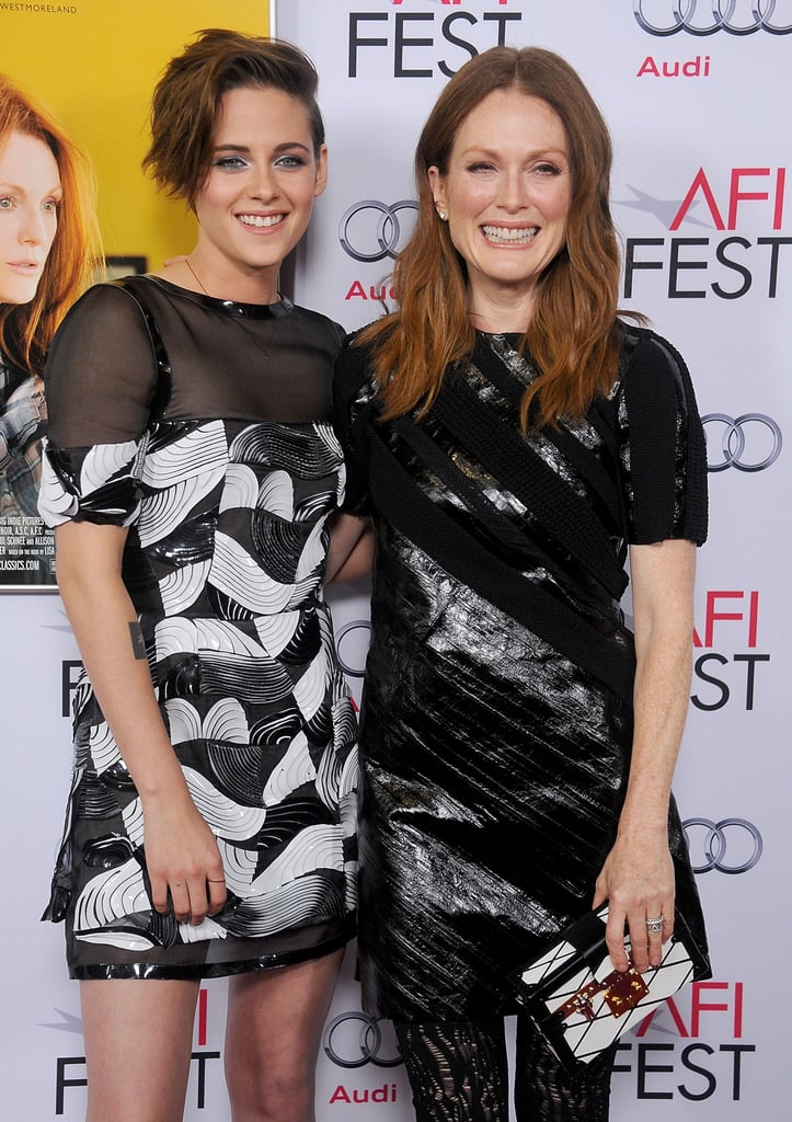"""Kristen Stewart joined her costar Julianne Moore on the red carpet in LA on Wednesday night to attend the AFI Fest premiere of their latest project, Still Alice. The actress wore a short Chanel frock and dramatic silver eye shadow to mingle with her costar and later step inside for a Q&A about the film. While on the red carpet, Kristen gushed about Julianne's performance in the project, which follows a woman with early-onset Alzheimer's disease. """"Because of her intense preparations and commitment to the role, we saw this incredible performance unfolding,"""" she said. """"Everyone on set could feel it — the other actors knew it, the crew knew it, the guys driving the grip trucks knew it. There was something special going on."""" While Kristen and Julianne were working their stuff in front of the cameras, Miley Cyrus was spotted making a sneaky entrance into the Q&A alongside her new boyfriend, Patrick Schwarzenegger. The two were there to support Patrick's mom, Maria Shriver, who served as an executive producer on the project."""