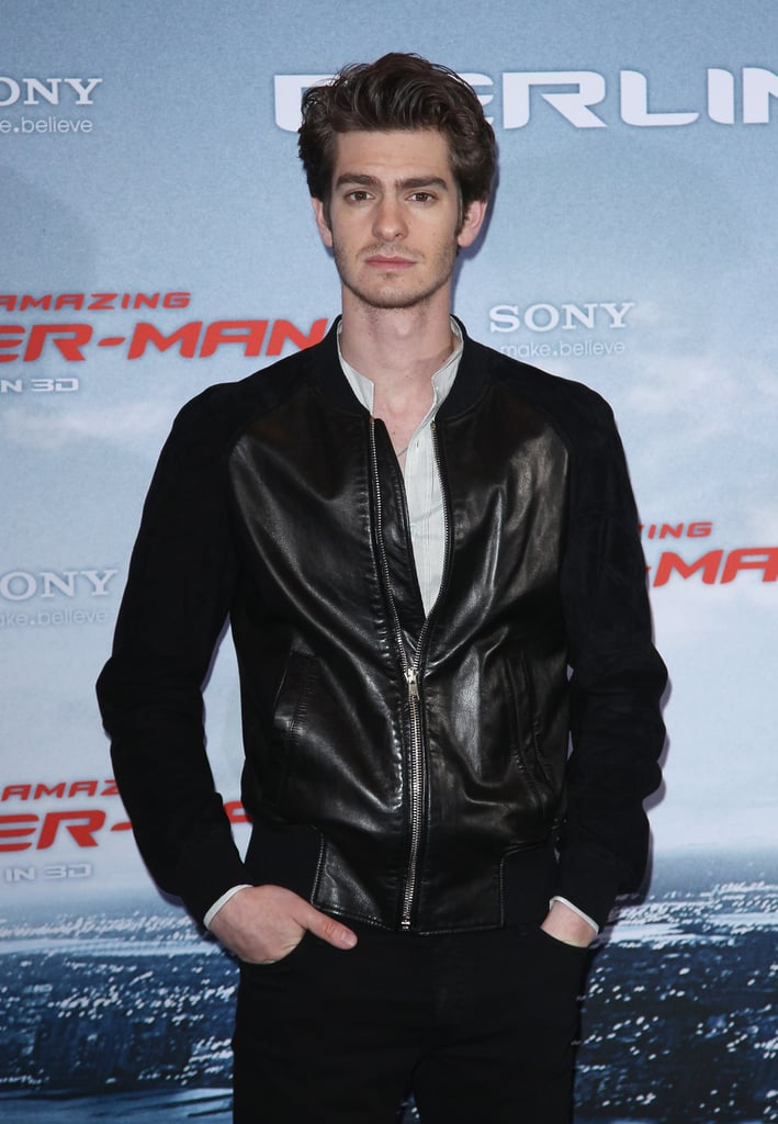 Andrew Garfield sported a black leather jacket for the Berlin photocall for The Amazing Spider-Man.