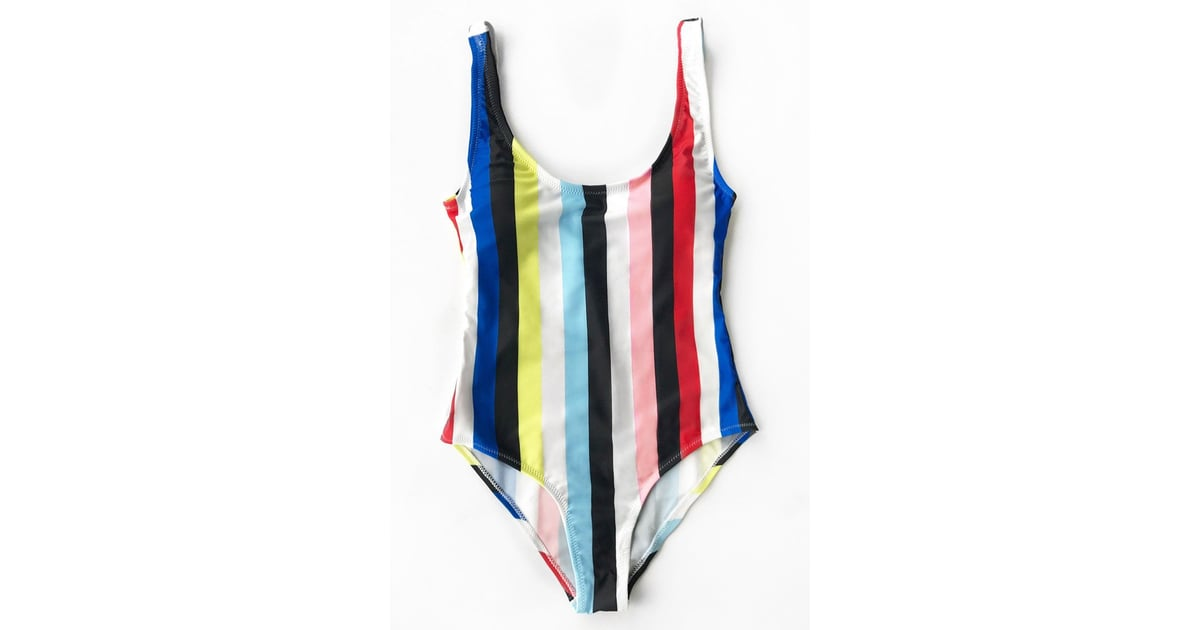 3ac8bcab845 Cupshe Colorful Stripes Backless One-Piece Swimsuit | Demi Lovato's Colorful  Striped One-Piece Swimsuit | POPSUGAR Fashion Photo 4