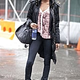 Cool-girl street wear, like a Wang Rocco duffel bag, got a flash of print on an easy blouse for contrast.