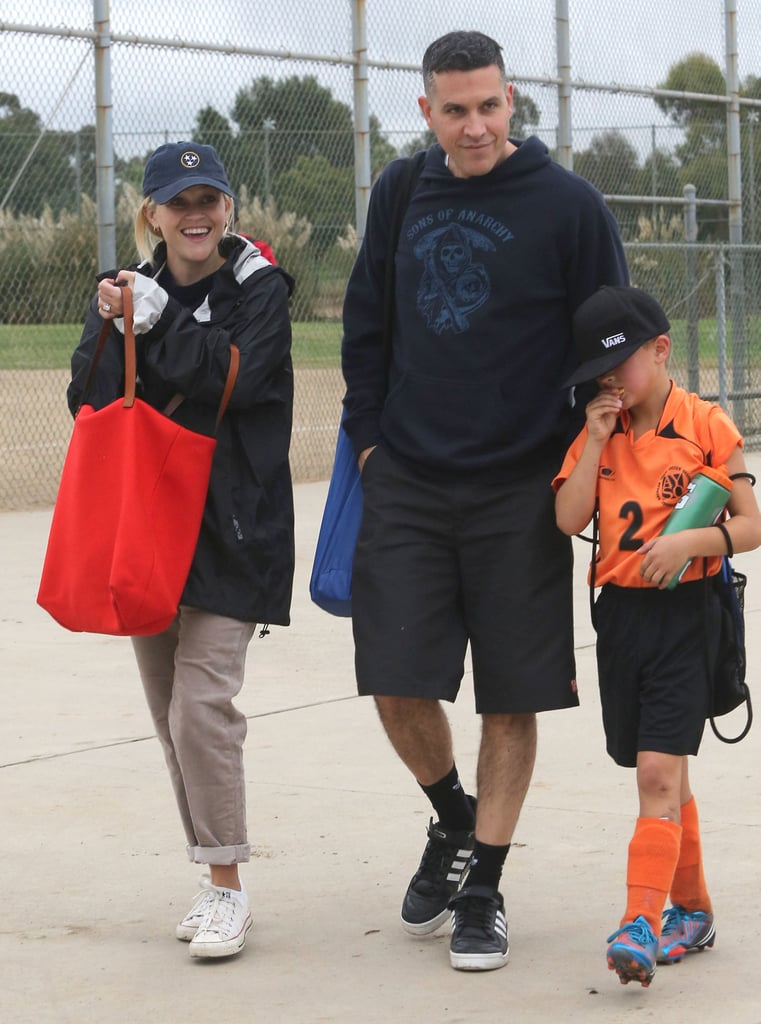 Reese Witherspoon and Jim Toth went out in LA Saturday to watching Deacon Phillippe's soccer game in LA. Calista Flockhart and Harrison Ford were also on the sidelines, watching their son Liam play in the game. Jim and Reese brought chairs along for the afternoon of sports and made each other laugh while cheering for Deacon. Reese has been out and about quite a bit over the last week, spending time with Deacon and doing some solo shopping. It has been one month since Reese and Deacon welcomed the latest member to the family. Reese's son Tennessee Toth, her first baby with Jim, entered the world in September.