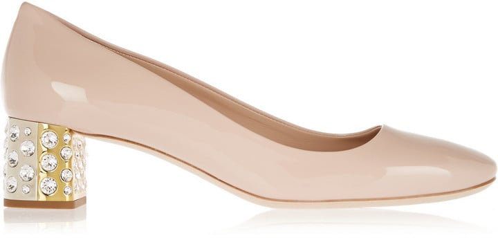 Miu Miu Crystal-Embellished Patent-Leather Pumps ($875)