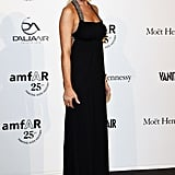 Lindsay Lohan wore a floor length black gown to the charity event.