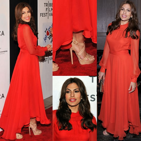 Eva Mendes Wears Red Gucci Dress to Tribeca Film Festival