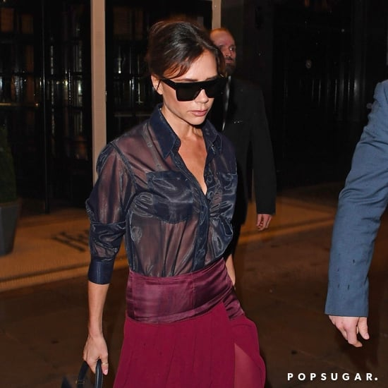 Victoria Beckham Wearing Sheer Button Down