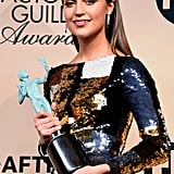 Alicia With Her SAG Award For Best Supporting Actress