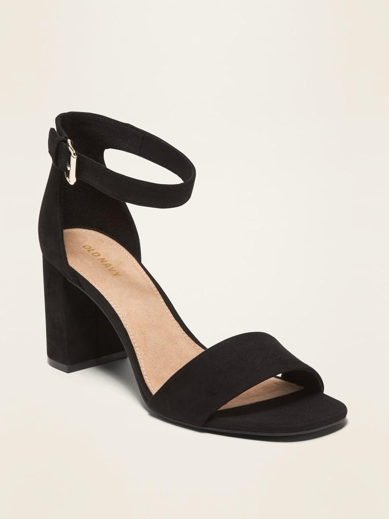 Faux-Suede High-Heel Sandals