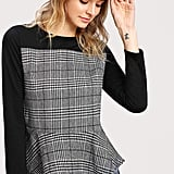 Shein Glen Plaid Pep Hem Blouse
