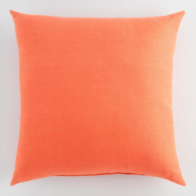 Orange Woven Indoor Outdoor Throw Pillow