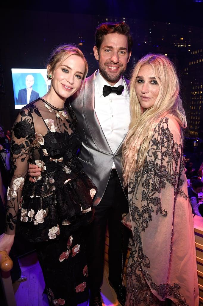 Emily Blunt, John Krasinski, and Kesha.
