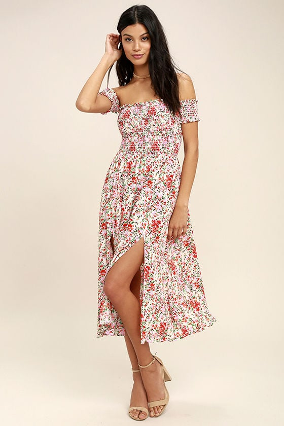 14166a8e66c8 Lulus View From the Meadow Cute Cream Floral Print Off the Shoulder Dress