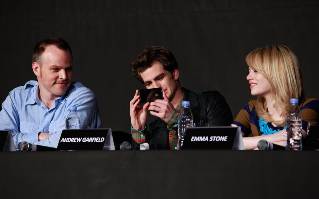 Marc Webb, Andrew Garfield, and Emma Stone attended the a The Amazing Spider-Man press conference in Seoul.