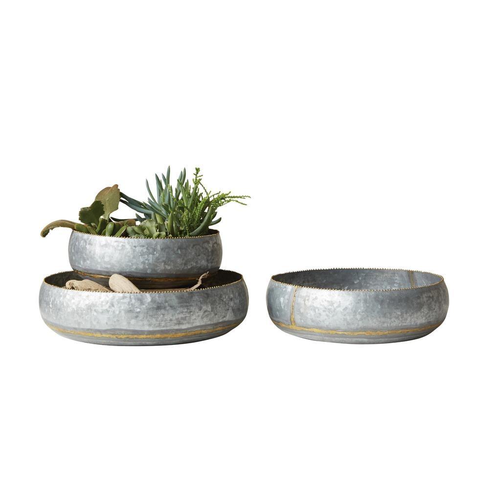 3R Studios Round Silver Galvanized Planter Bowls (Set of 3)