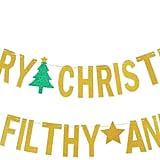 Gold Glittery Merry Christmas Banner
