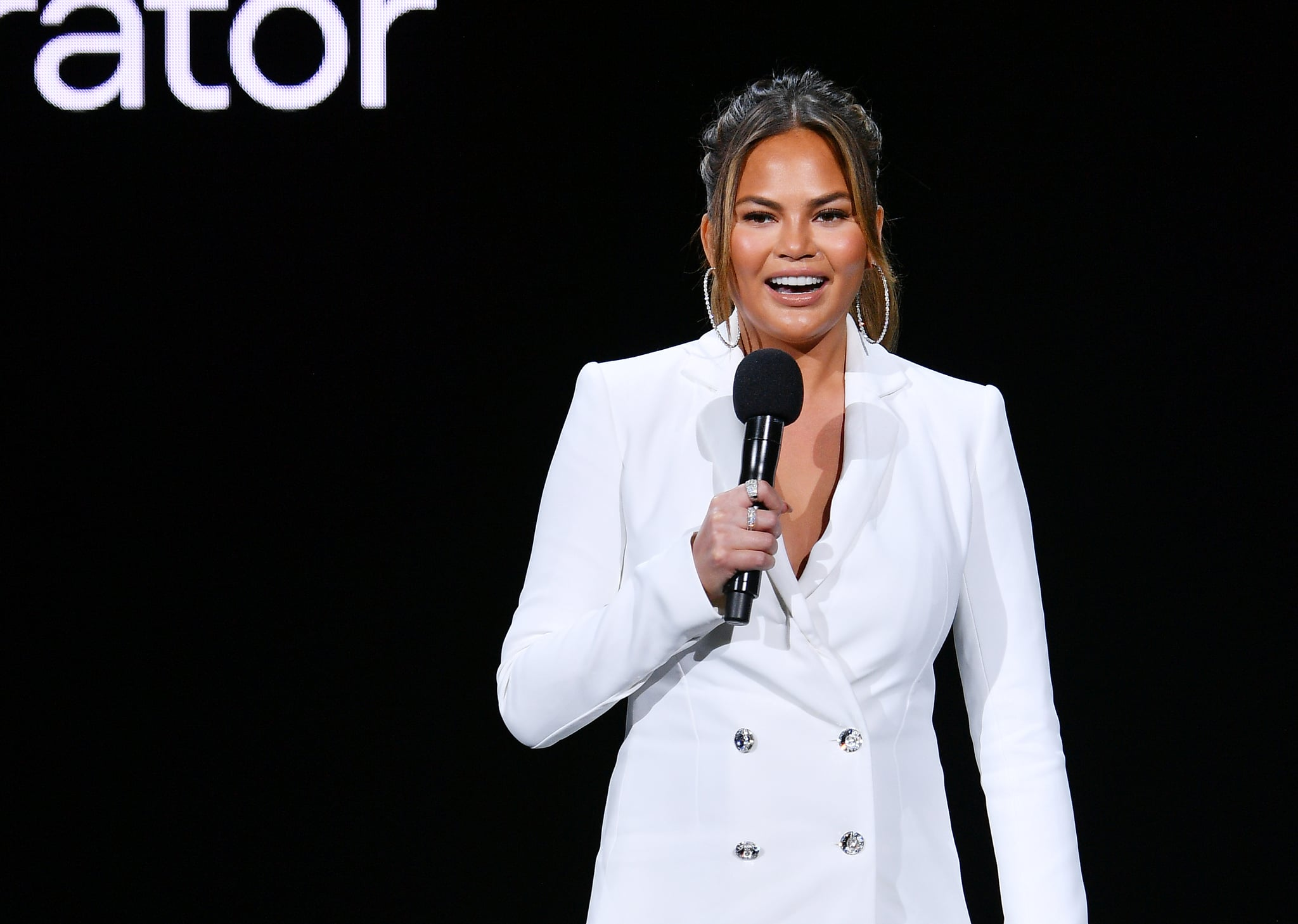 NEW YORK, NEW YORK - MAY 01:  Chrissy Teigen speaks onstage during the Hulu '19 Presentation at Hulu Theater at MSG on May 01, 2019 in New York City. (Photo by Dia Dipasupil/Getty Images for Hulu)