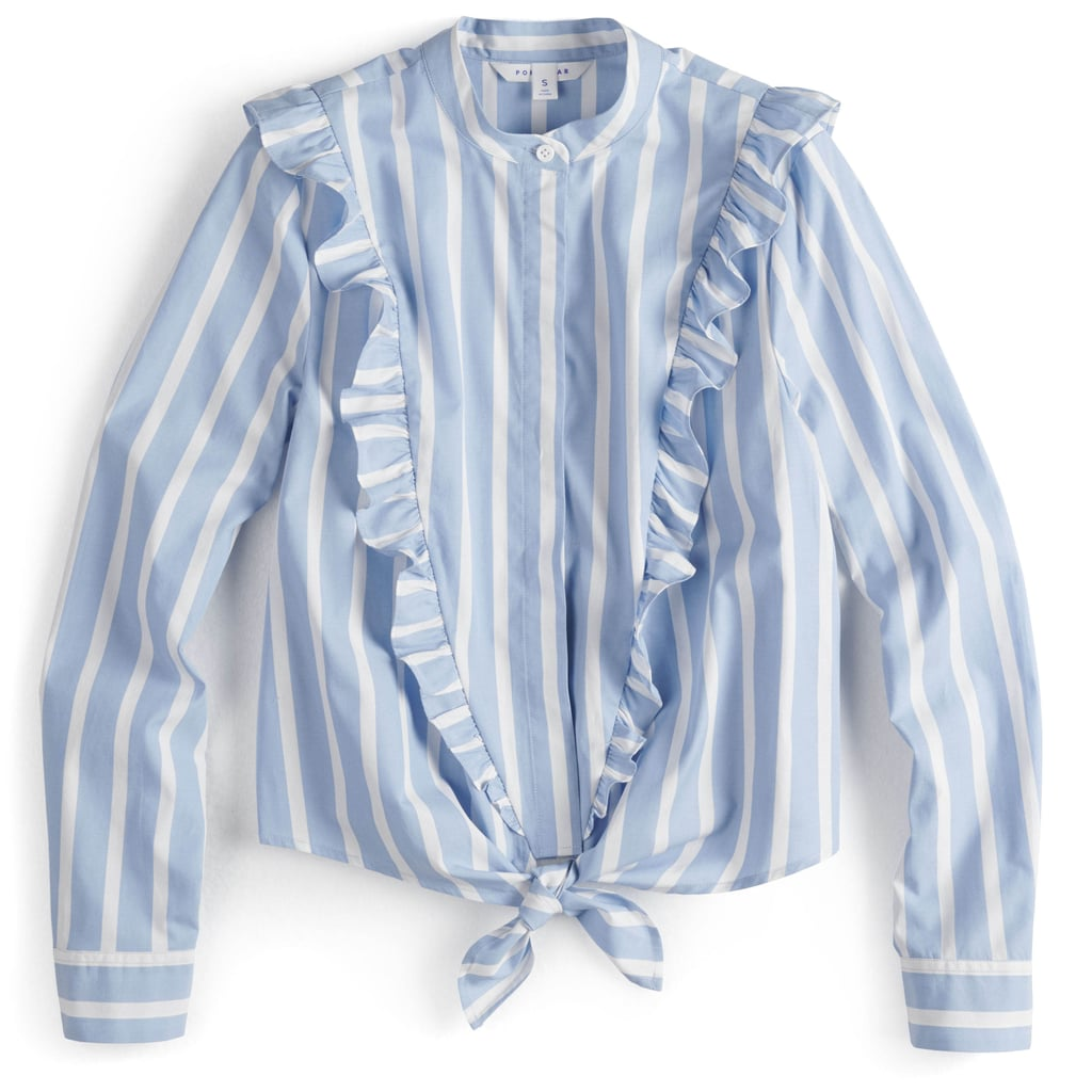 Ruffled Knot-Front Crop Shirt