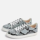 Cola Blue Snakeskin Lace-Up Trainers
